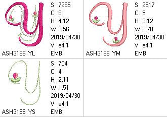 Mini Tulip and Pearls Monogram Letters Y