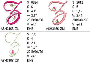 Mini Tulip and Pearls Monogram Letters Z - a-stitch-a-half