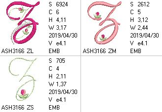 Mini Tulip and Pearls Monogram Letters Z
