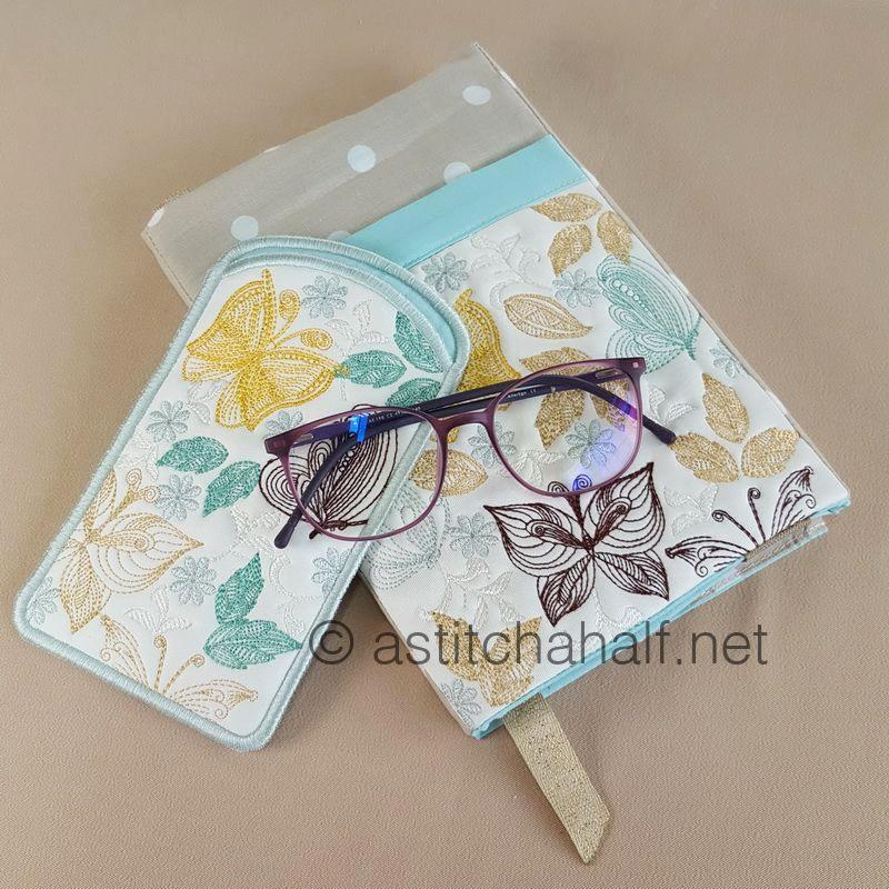 Fly Away Butterflies with Adjustable Book Cover and Eyeglass Case - a-stitch-a-half