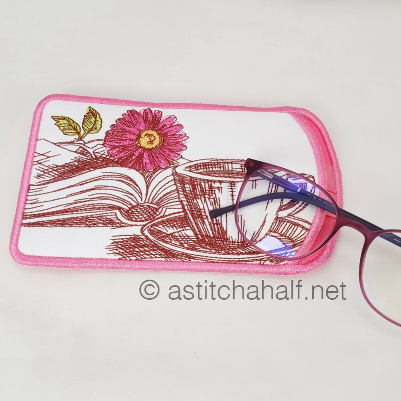 Hug in a Mug Reading Pillow and Eyeglass Case - a-stitch-a-half