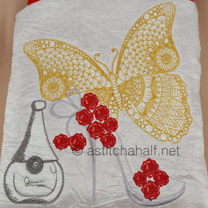 Flamboyance Butterfly and Perfume Square Cross Body Bag