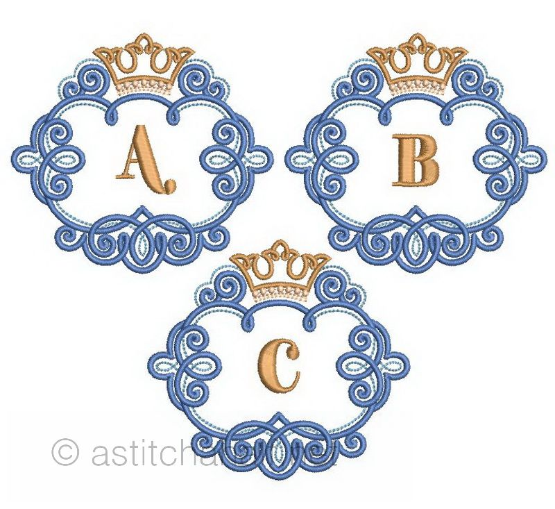 The Crown Monogram Letters A through Z - a-stitch-a-half