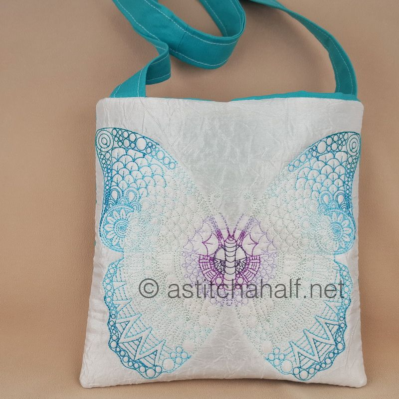 Mega Butterfly Mandala Square Cross Body Bag - a-stitch-a-half