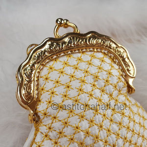 Chrysanthemum Coin Purse with Metal Clip - a-stitch-a-half