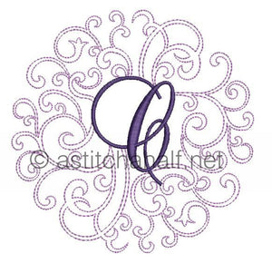 Regal Curls Monogram Letters C - a-stitch-a-half