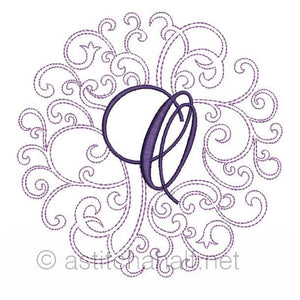 Regal Curls Monogram Letters O - a-stitch-a-half