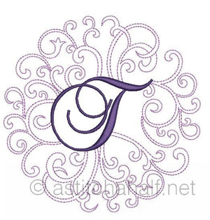 Regal Curls Monogram Letters T - a-stitch-a-half