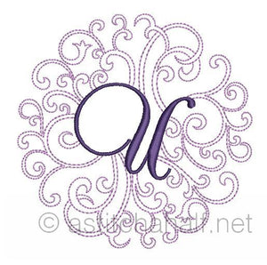 Regal Curls Monogram Letters U - a-stitch-a-half