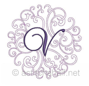 Regal Curls Monogram Letters V - a-stitch-a-half