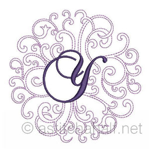 Regal Curls Monogram Letters Y - a-stitch-a-half