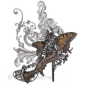 Masquerade Shoe and Butterflies