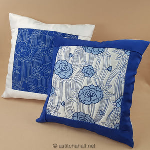 Japanese Peony Decorative Pillow Designs - a-stitch-a-half