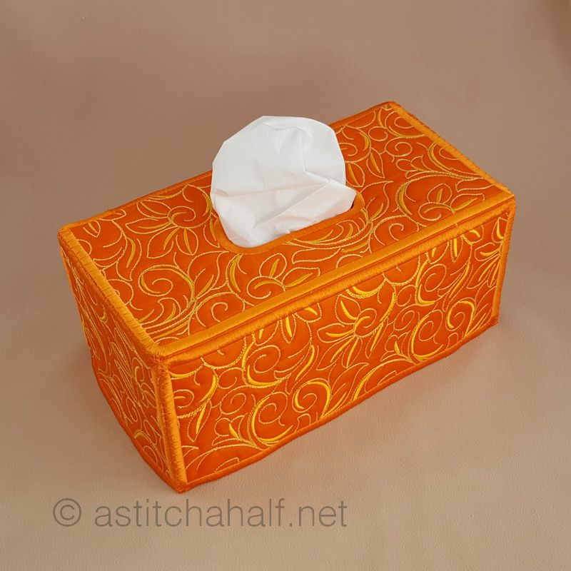 Essentials Floral Tissue Box Cover - a-stitch-a-half