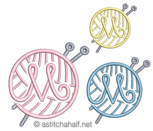 Knitting Monogram Letter M - a-stitch-a-half