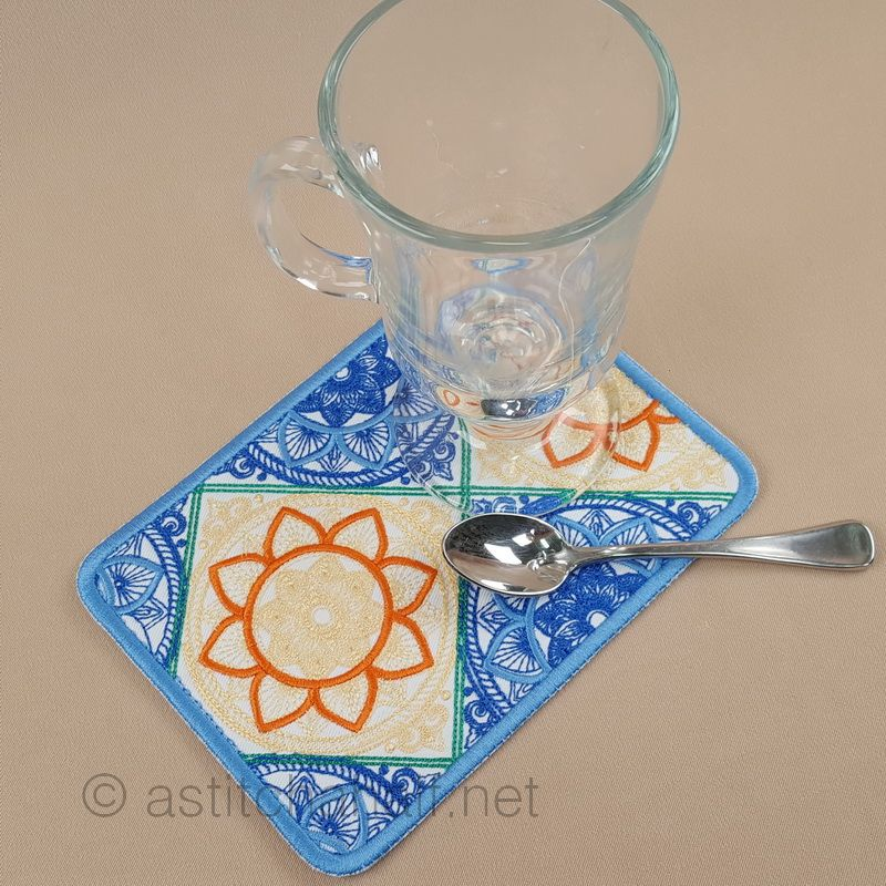 Talavera Mug Rug and Coaster set - a-stitch-a-half