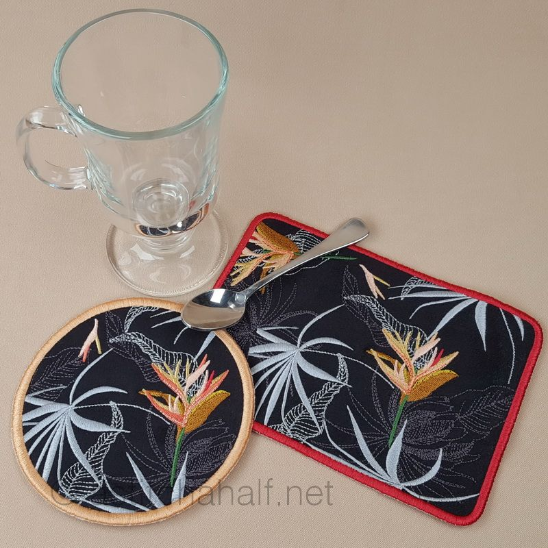 Strelitzia Mug Rug and Coaster set - a-stitch-a-half