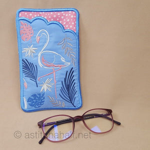 Flamingo Brush Strokes Eyeglass Case - a-stitch-a-half