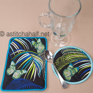 Neotropical Mug Rug and Coaster set - a-stitch-a-half