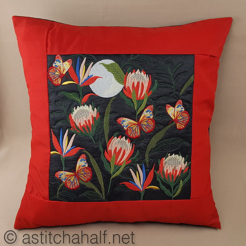 Proteas at full Moon Decorative Pillow Designs - a-stitch-a-half