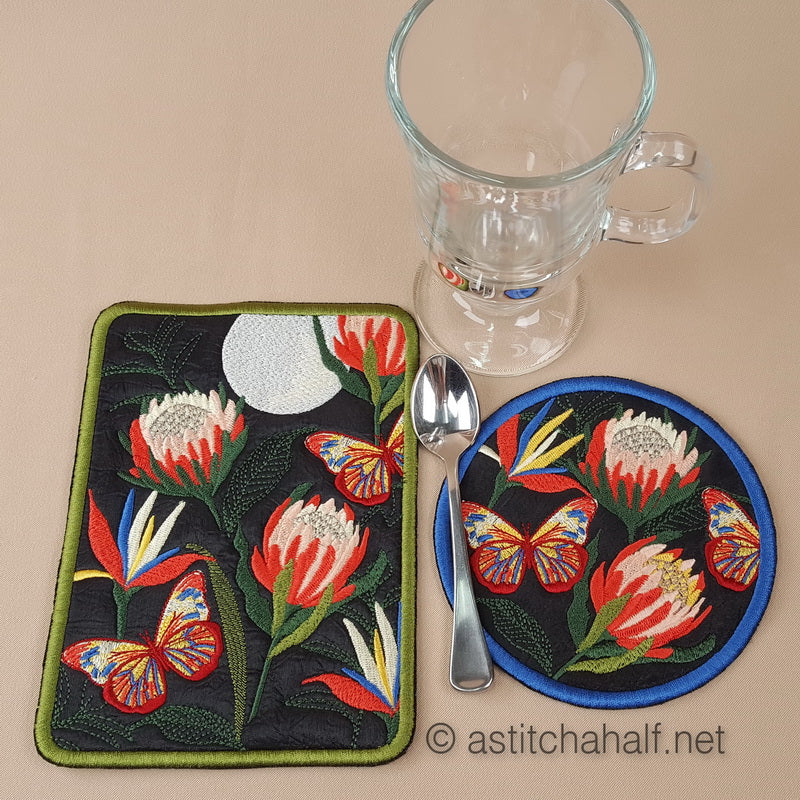 Proteas at full Moon Mug Rug and Coaster set - a-stitch-a-half