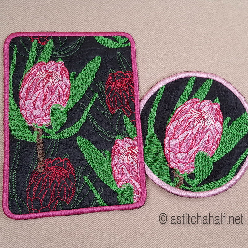 Protea Harmony Mug Rug and Coaster set - a-stitch-a-half