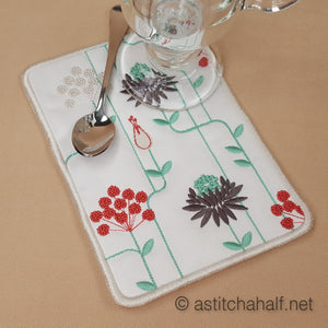 Garden Geometric Mug Rug and Coaster set - a-stitch-a-half