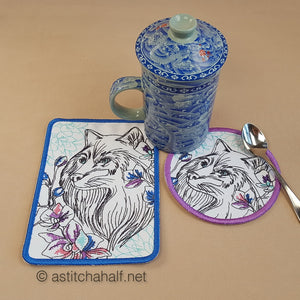 Wild Winter Mug Rug and Coaster set - a-stitch-a-half