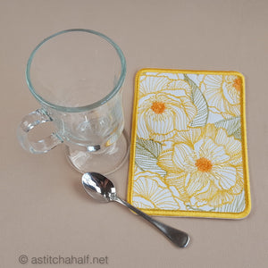 Sweet Sunshine Mug Rug and Coaster set - a-stitch-a-half