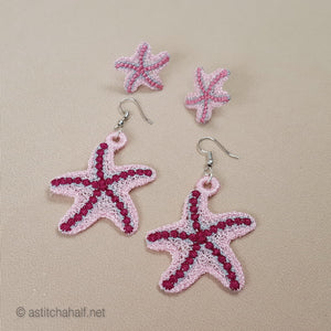 Sweet Sea Star Freestanding Lace Earrings - a-stitch-a-half