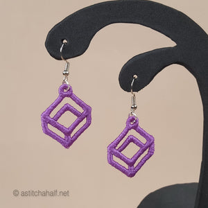 Gorgeous Geometric Freestanding Lace Earrings - a-stitch-a-half