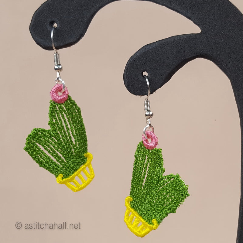 Cactus Freestanding Lace Earrings - a-stitch-a-half