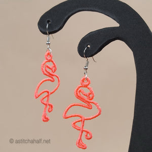 Greater and Lesser Flamingos Freestanding Lace Earrings - a-stitch-a-half