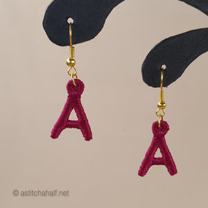 Miniature Monogram Freestanding Lace Earrings Combo - a-stitch-a-half