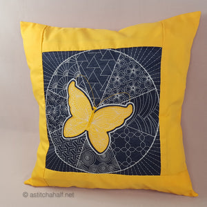 Sashiko Butterfly Decorative Pillow with Reverse Applique