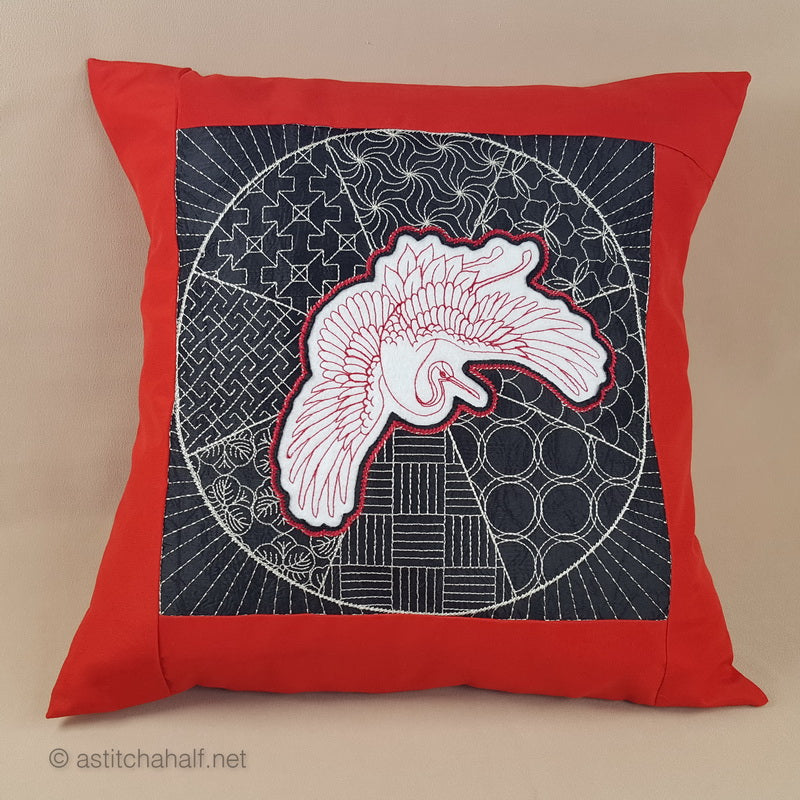 Japanese Crane Decorative Pillow with Reverse Applique