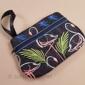 Midnight Flamingos ITH Wrist Purse