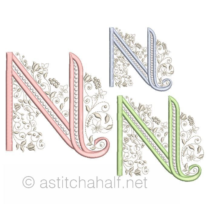 French Knot Monogram N