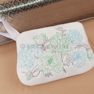 Gentle Blooming Hydrangea Zipper Purse