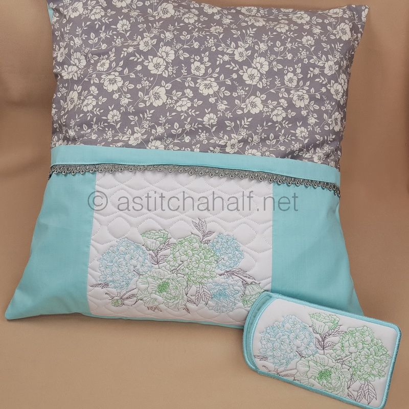 Gentle Blooming Hydrangea Reading Pillow and Eyeglass Case
