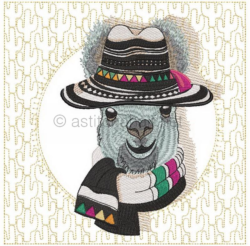 Panama Llama with Cacti Quilt Blocks