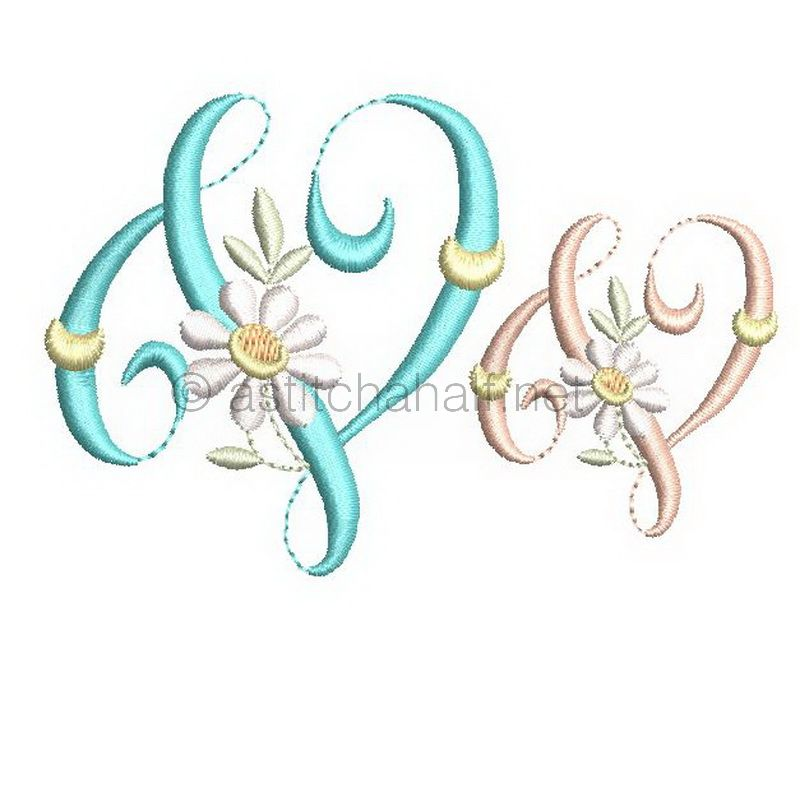 Summer Dance Monogram Letter V