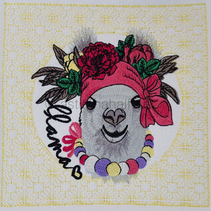 Miss Llama with Floral Quilt Block