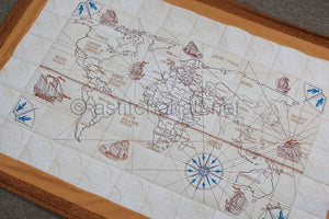 Antique World Map Complete Quilt and Designs Pack - aStitch aHalf