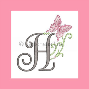 Butterfly Prelude Monogram Letter H - aStitch aHalf