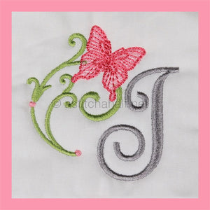 Butterfly Prelude Monogram Letter I - aStitch aHalf