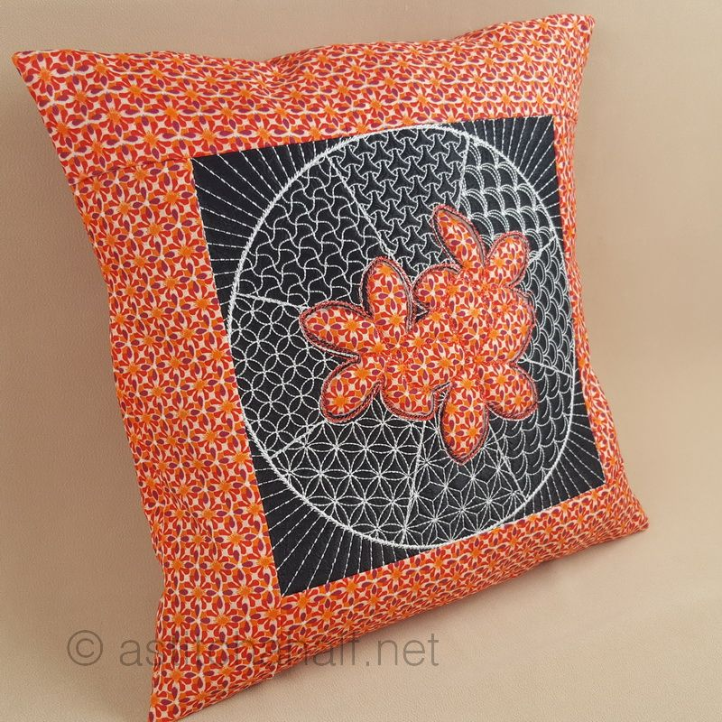 Sashiko Plumeria Decorative Pillow with Reverse Applique - a-stitch-a-half