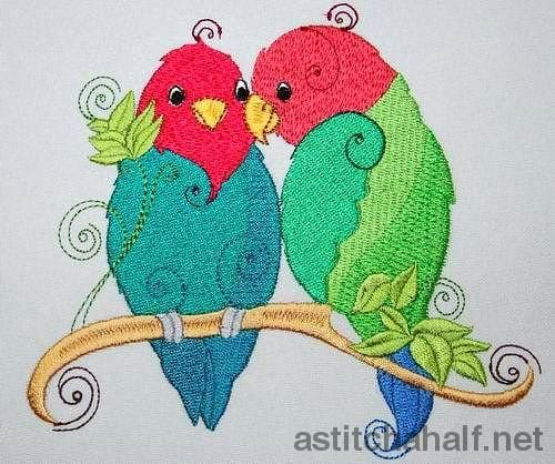 African Love Bird Embroidery Fill