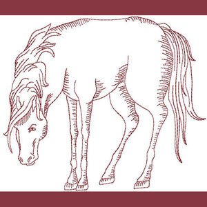 Thoroughbred Redwork - a-stitch-a-half