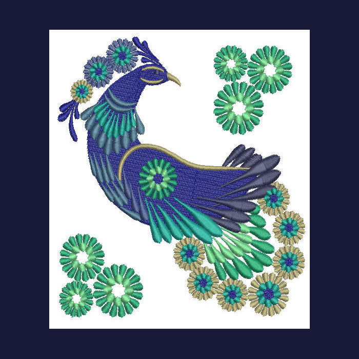 Peacock in Lace - a-stitch-a-half